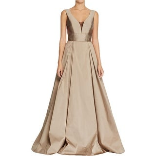 Aidan Mattox Womens Party Dress Taffeta Mesh Inset