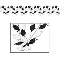 Club Pack of 12 Black and White Mortarboard Gleam 'N Flex Graduation Celebration Garland 25'