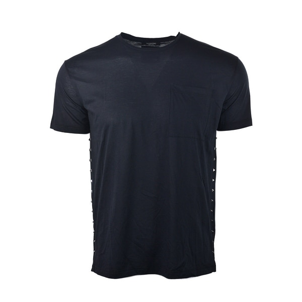 0e1238f9ba1b Valentino Black Cotton Rockstud Studded Side Short Sleeve T Shirt - m