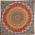 Unique Handmade Cotton Grateful Dead Vibrating Bear Mandala Bandana Scarf 22x22 - Thumbnail 0
