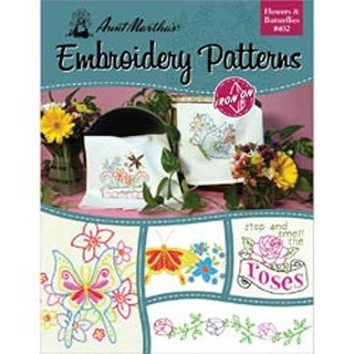 Flowers & Butterflies - Aunt Martha's Iron-On Transfer Book
