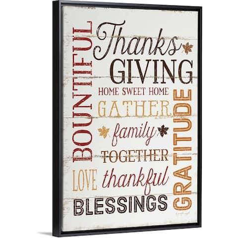 """Thanksgiving"" Black Float Frame Canvas Art"