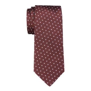 Yves Saint Laurent Mens Textured Classic Silk Necktie Burgundy Size 8