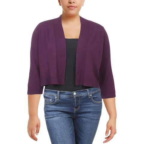 Calvin Klein Womens Plus Shrug Sweater Cropped Layering