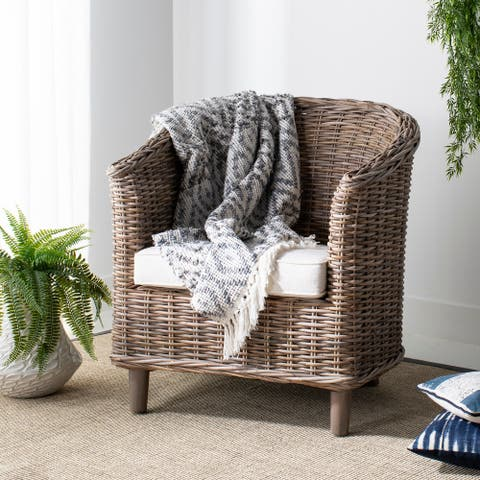 "Safavieh Omni Rattan Barrel Chair with Cushion - 29.1"" x 27.2"" x 32.7"""