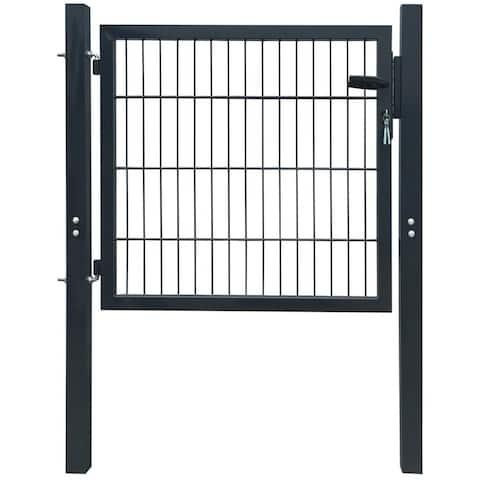 """vidaXL Fence Gate Steel Anthracite 40.6""""x59.1"""""""