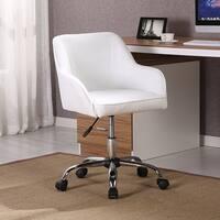 Belleze Mid Back Desk Task Office Chair Padded Seat Lumbar Support Velvet Fabric, White