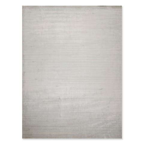Hand Knotted Full Pile Textured Designer Ivory,Gray Oriental Area Rug Wool Contemporary Oriental Area Rug (9x12) - 9' x 12'