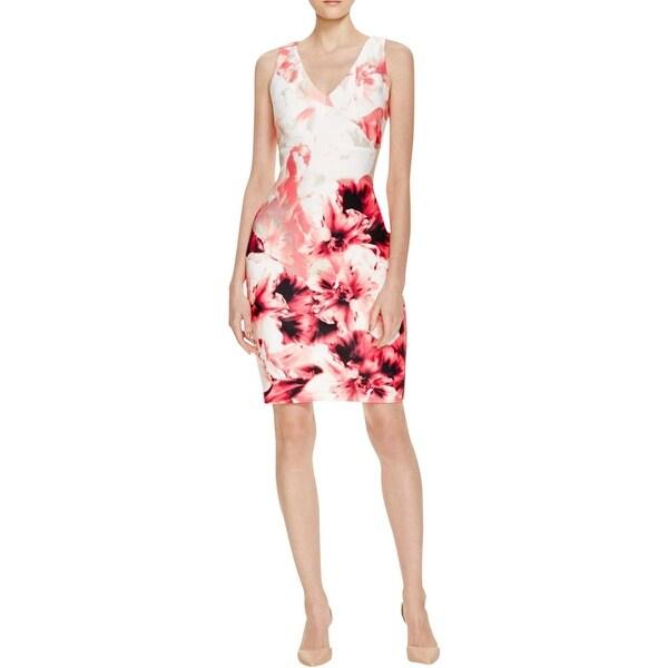 Calvin Klein Womens Cocktail Dress Scuba V-NECK