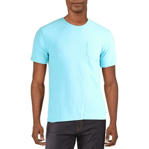 Lucky Brand Mens T-Shirt Aquamarine Blue Size Large L Crew Pocket Tee