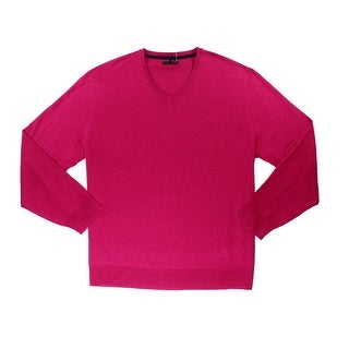 Club Room NEW Pink Berry Mens Size XL V-Neck Wool Ribbed-Knit Sweater
