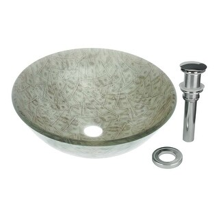 Tempered Glass Vessel Sink with Drain, Single Layer Money Painted Round Bowl Sink