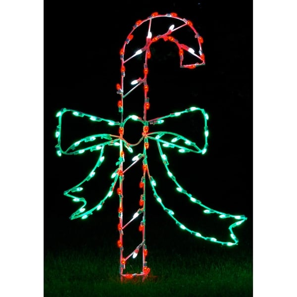 Christmas at Winterland WL-GM107-LED LED Light Candy Cane with Bow - MultiColor - N/A