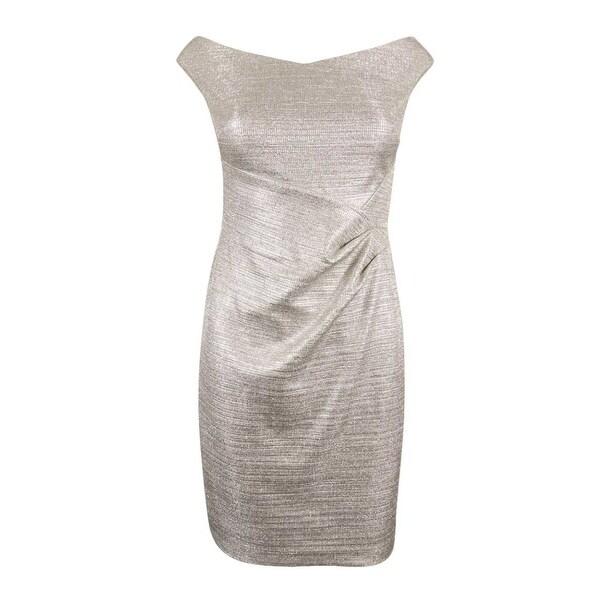 06ee417b75 Shop Lauren Ralph Lauren Women s Petites Metallic Foil Sheath Dress -  Silver Metallic - Free Shipping Today - Overstock - 19978369