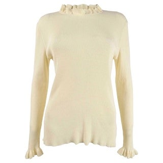 Link to Anne Klein Women's Ruffle-Trim Ribbed Sweater (L, Anne White) Similar Items in Women's Sweaters