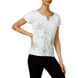 Alfred Dunner Womens Petites Casual Top Embellished Floral Print