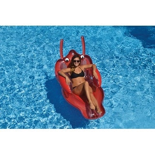 """58"""" Scarlet Lobster Inflatable Novelty Swimming Pool Floating Lounge Raft - Red"""