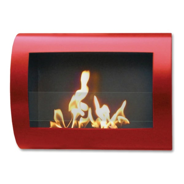 Chelsea (Red_High Gloss) Wall Mount Bio Ethanol Ventless Fireplace