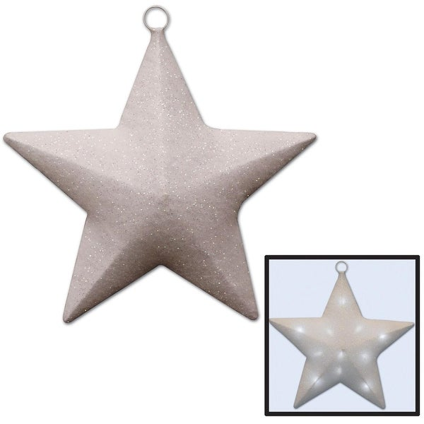 """16"""" White and Silver Glittered Light-Up County Western Sparkle Star"""