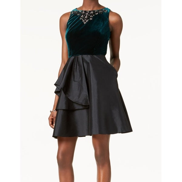 024403e6915 Shop Adrianna Papell Green Womens Size 12 Embellished A-Line Dress - Free  Shipping Today - Overstock.com - 26991130