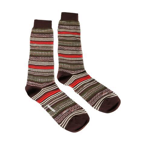 Missoni GM00CMU5236 0001 Brown/Olive Mixed Stripe Knee Length Socks