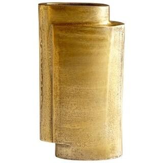 "Cyan Design 08951  A Step Up 6-1/2"" Wide Aluminum Vase - Antique Brass"