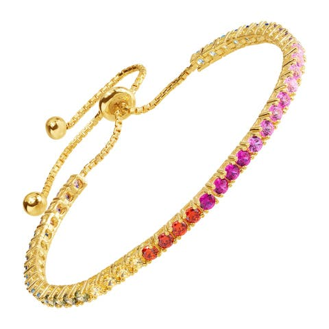 "Rainbow Cubic Zirconia Bolo Bracelet in Sterling Silver, 9"" - Multi-Color"