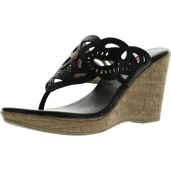 C Label Midori-4 Womens Slip On Beaded Rhinestone T-Strap Thong Wedge Sandals