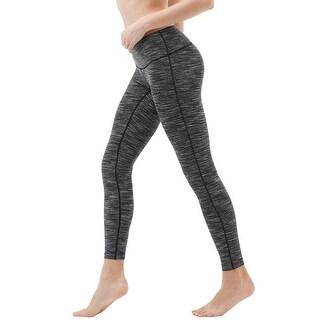 Tesla FYP41 Women's Mid-Waist Ultra-Stretch Yoga Pants - Space Dye Charcoal