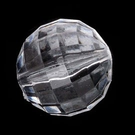 Acrylic Round Chessboard Faceted Beads Clear 16mm (10 Pieces)