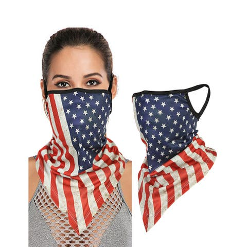 Face Bandana Neck Gaiter with Ear Loops Reusable Triangle Mask Scarf Cycle Balaclava for Women Men