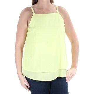 Womens Yellow Sleeveless Square Neck Top Size 3XS