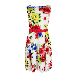 Tahari ASL Women's Belted Floral-Print Fit & Flare Dress