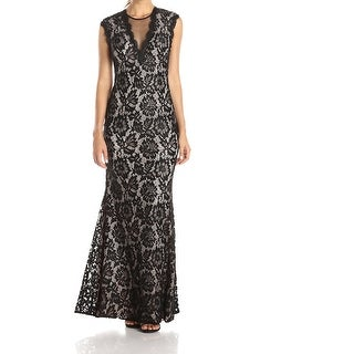 Betsy & Adam NEW Black Nude Womens Size 4 Lace Illusion Mesh Gown