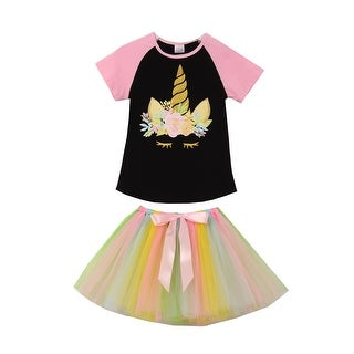 Unicorn Print Black Tee T-Shirt Top Tutu for Little Girl Pink Tutu 201507