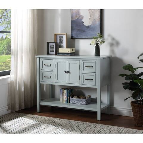 43'' Modern Console Table with 4 Drawers 1 Cabinet and 1 Shelf