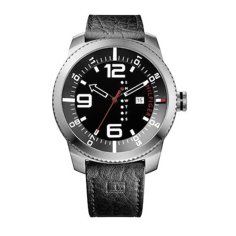 Tommy Hilfiger Men's Black Leather Strap Watch - N/A