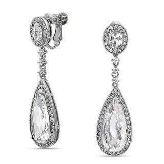 Bling Jewelry CZ Bridal Dangle Earrings Screw Back Clip On Rhodium Plated Brass