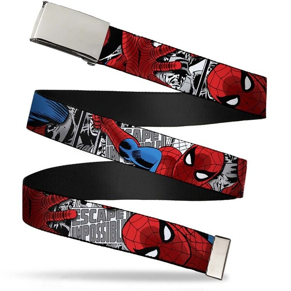 Blank Chrome Buckle Spider Man Action Escape Impossible Gray Webbing Web Belt - S