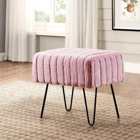 Serenta Super Mink Faux Fur Ottoman Bench