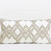 "G Home Collection Luxury Gold Handmade Textured Check Beaded Pillow 12""X22"""
