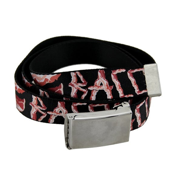 Black Polyester Web Bacon Belt w/Chrome Buckle