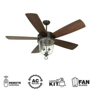 "Craftmade Fredericksburg 60"" 5 Blade Outdoor Ceiling Fan - Blades, Remote and Light Kit Included - oiled bronze gilded"