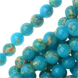 Impression Jasper Gemstone Beads, Round 4mm, 15 Inch Strand, Teal Blue