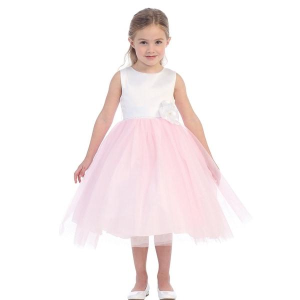 Little S Pink White Fl Accented Glitter Tulle Flower Dress