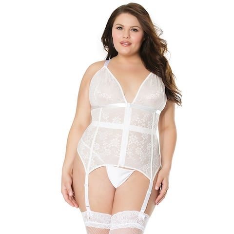 Plus Size Caged Lace Bustier - White