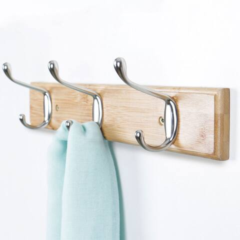 Dual Wall Hook Rack Bamboo Base 14 Inch 3 Hooks Coat Towel Holder - Wood