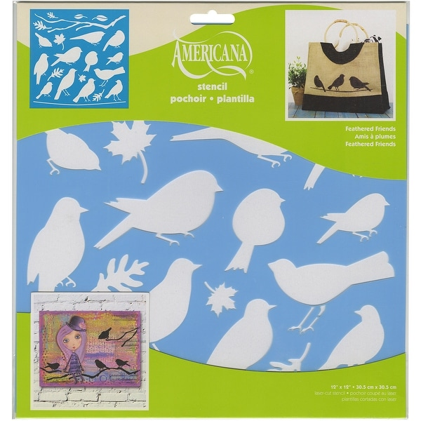 "Americana Decor Stencil 12""X12""-Feathered Friends"