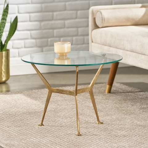 Shaffer Modern Glam Handcrafted Glass Top Aluminum Tripod Coffee Table by Christopher Knight Home