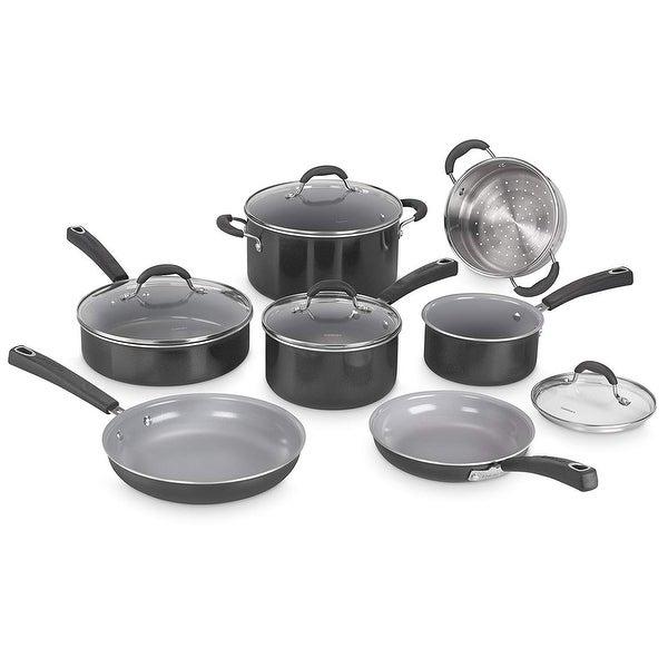Cuisinart 11Pc Ceramic Nonstick XT Cookware - Black Nonstick Cookware Set - Black